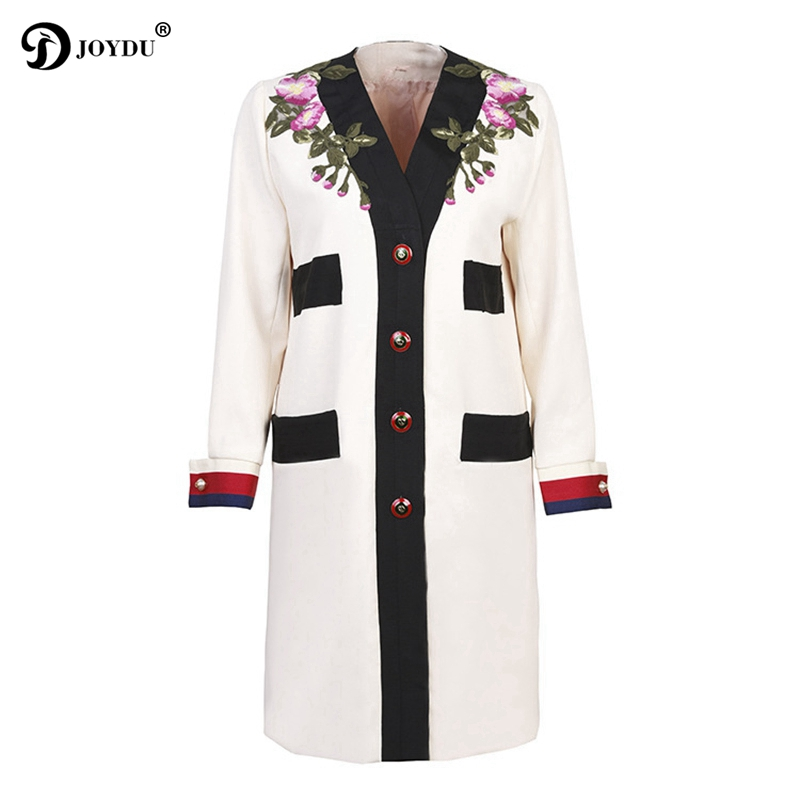 2018 Newest Autumn Casual Long Coat Women Flora Embroidery V-neck Long Sleeve Single Breasted Vintage Basic   Trench   Coat Outwear