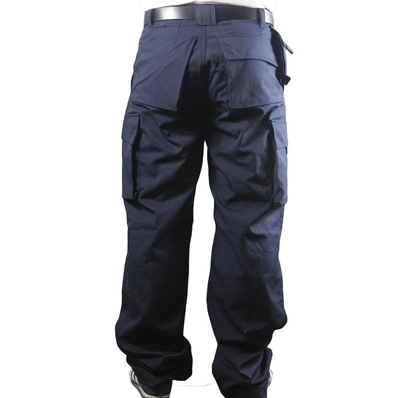 Working pants men multi pockets work cargo pants large size loose style men's labor trousers wear-resistance welding repairman outdoor loose fit straight leg multi pocket solid color zipper fly cargo pants for men