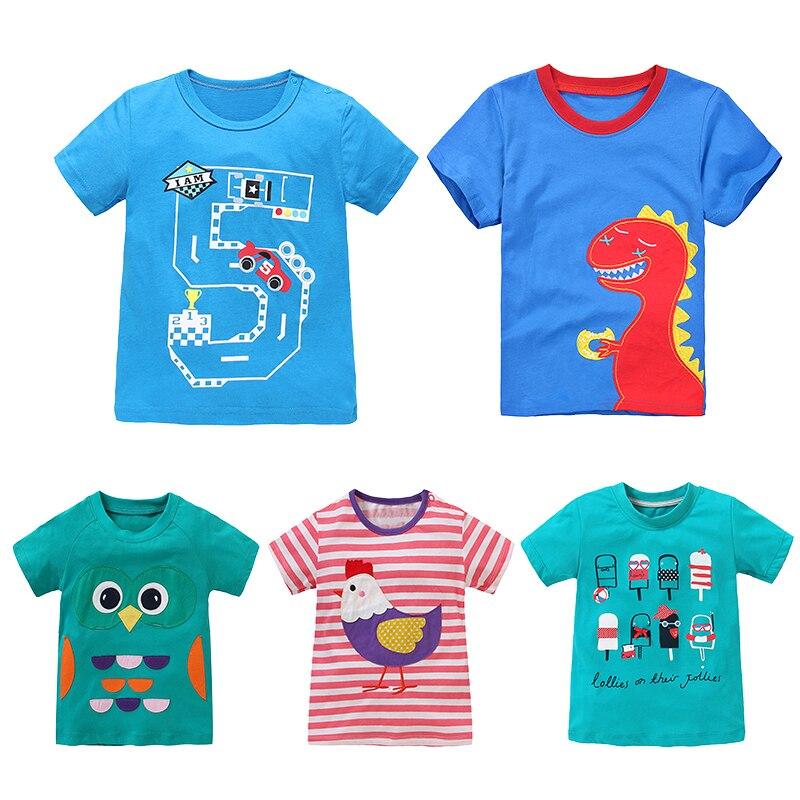 Мультфильм детская футболка одежда для маленьких девочек и мальчиков с принтом динозавра для маленьких мальчиков короткий рукав с круглым ...