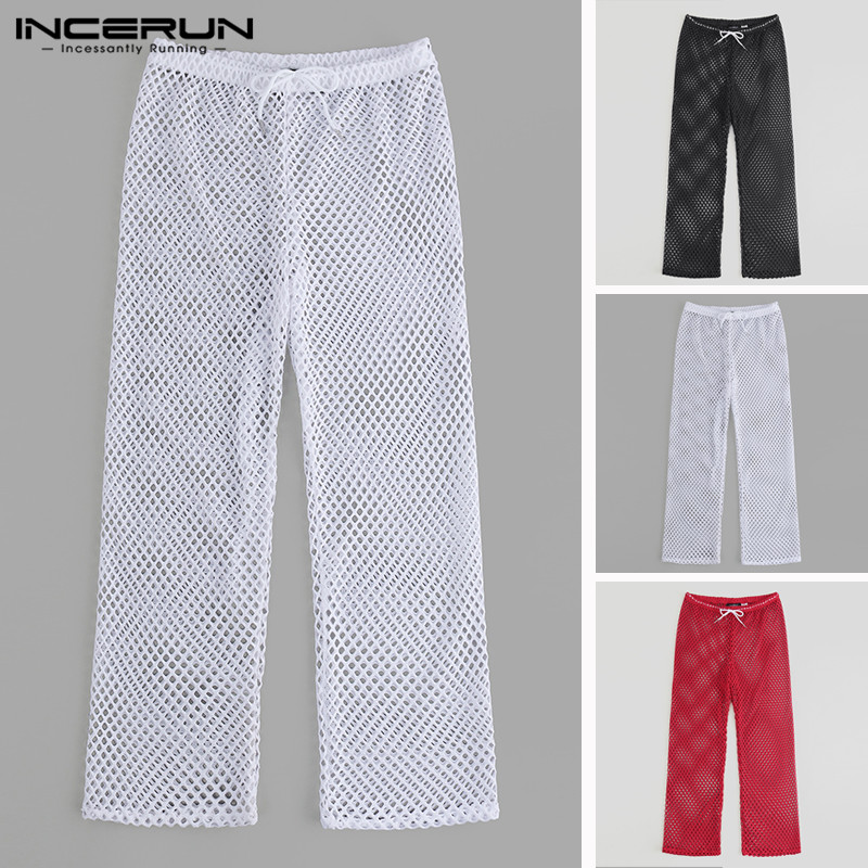 INCERUN Summer Fashion Mesh Men Pants Breathable Drawstring Loose Transparent Trousers Men 2020 Plus Size Sexy See Through Pants