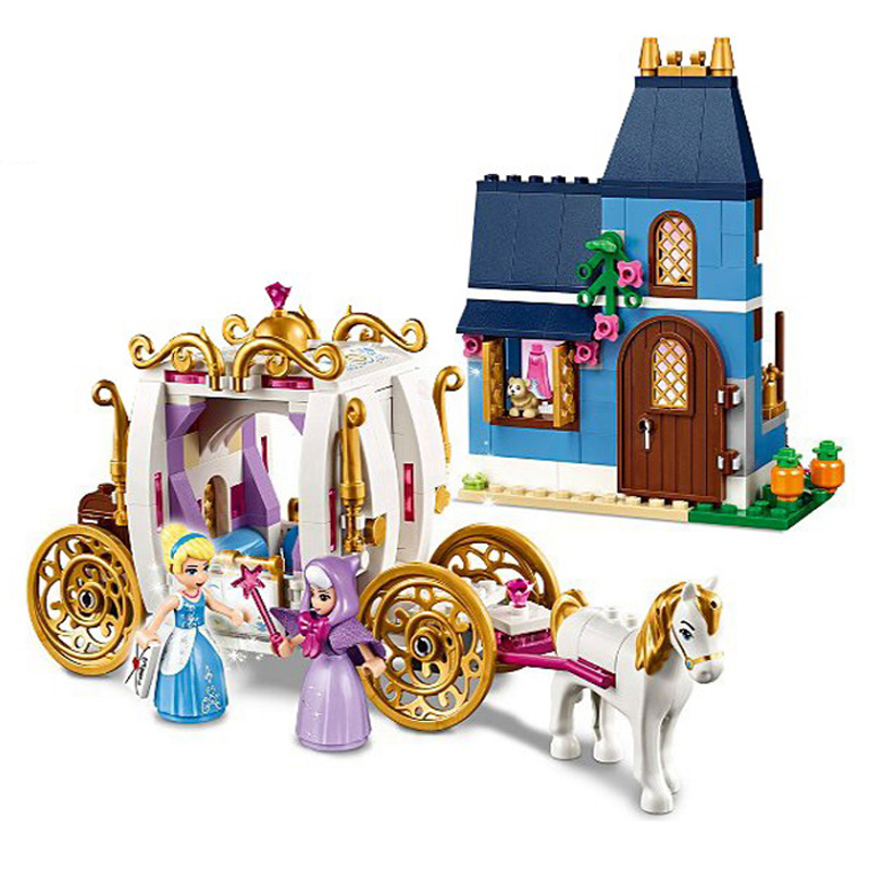 New Princess Friends Series 25009 Duplos Cinderella Pumpkin Carriage Building Blocks Bricks Set Girls Toys 41146