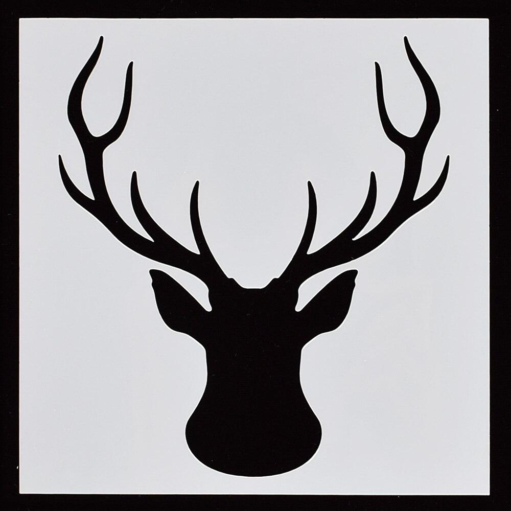 1PC Christmas Elk Shaped Reusable Stencil Airbrush Painting Art DIY Home Decor Scrap Booking Album Crafts Stencil Airbrush Paint