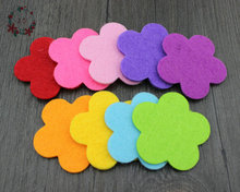 100pcs/lot 5cm Fabric Felt Five Petals Plum flower Shape Applique Petal Garment Patches Birday Valentines Day Wall Decorates