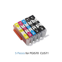 Купить с кэшбэком 5pcs PGI570 PGI 570 CLI 571 Compatible Ink Cartridges For Canon PIXMA MG5750 MG5751 MG5753 MG6850 MG6851 MG6852 MG7750 PGI-570