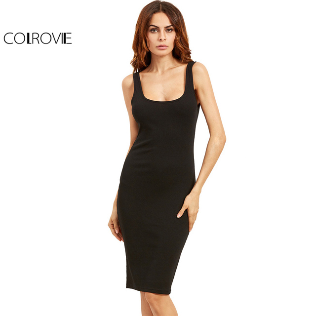 Colrovie Black Basic Ribbed Summer Dress Plus Size 2017 Double Scoop