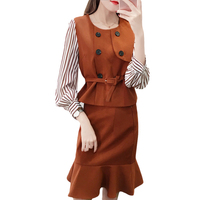 Fall New Suit Stripe Shirt Top A Line Puffles Skirts Two Piece Casual Outfit Women Clothing