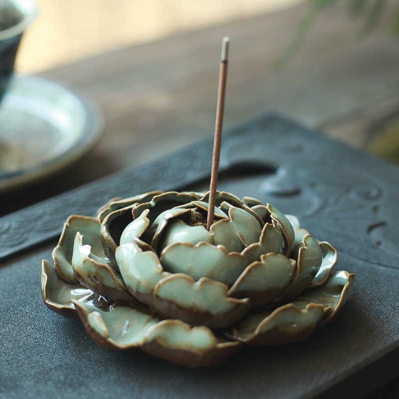 Ручная работа Цзиндэчжэнь благовония дзен Ручная Керамическая задняя Пион цветок лотоса joss палочка благовония катушка