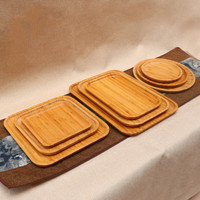 Bamboo Affirmative Rectangular Circular Tray Coffee Bamboo Tea Tray Hotel Supplies Thick Bamboo Plate