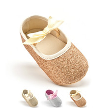 Glitter Baby Shoes Flash Gold Bow Soft Bottom Sneaker Anti-slip Soft Sole Toddler