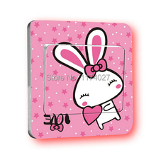 5pcs/set Pink Rabbit Switch Stickers Wall Stickers Home Decoration Bedroom Parlor Decoration