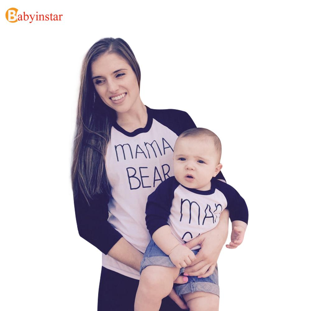 Babyinstar Family Clothe Mother Kids Casual Spring Autumn Full Sleeve Family Matching Outfits Letter Print Mom & Son Top T-Shirt