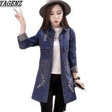 Denim Jacket Women Medium Length Jeans Overcoat Ladies Jackets Tops Hole Long Sleeves Plus Size 4XL