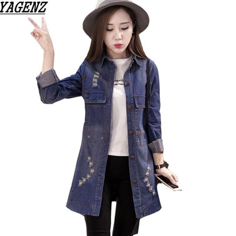 Denim font b Jacket b font font b Women b font Medium Length Jeans Overcoat Ladies