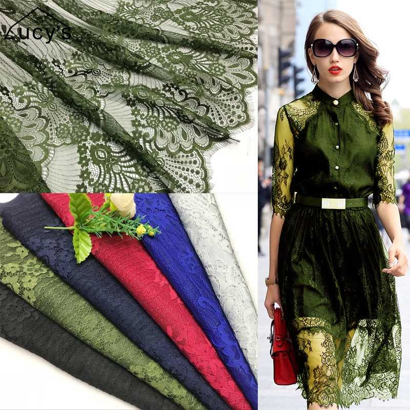 2018 NEW dyed lace fabric 7 colors Army green, Royal blue, Navy blue, Wine red, Black, Off white, Grey 1.5*1.5 meters/piece lace