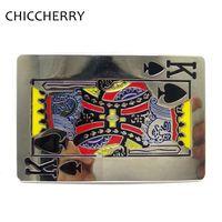 Fashion Women Cool Playing Cards Spade K Royal Flush Poker Card Metal Belt Buckle Hebilla De
