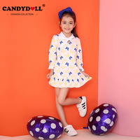 Candydoll Children Baby Girls Dresses Cotton Long-sleeve Girls Clothes Baby Girls Cartoon Butterfly Print Dress 3-10Y SAJ3137