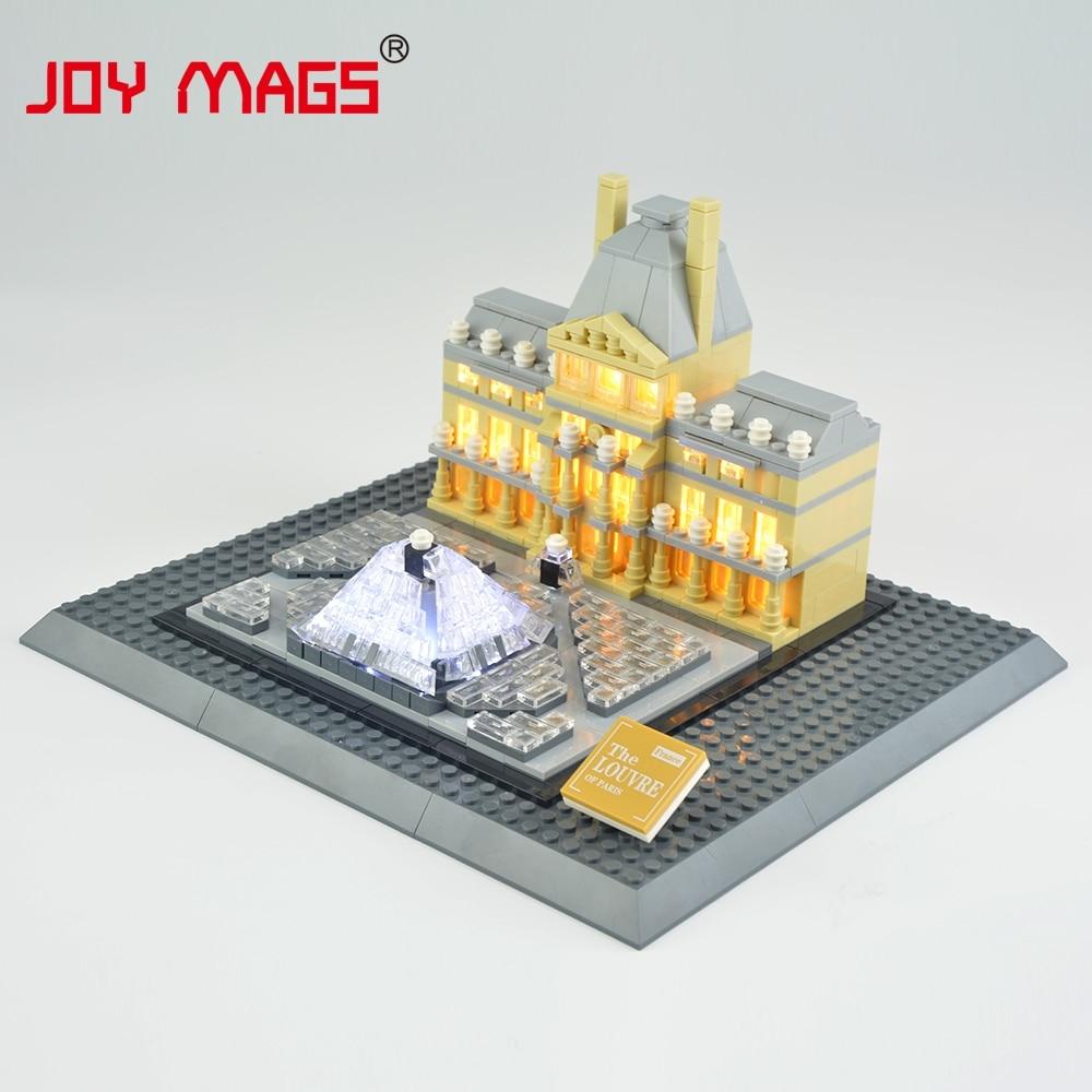 JOY MAGS запалюють комплект з підсвічуванням будівельних блоків для творця Лувру, сумісний з Lego 21024 без моделі будівлі