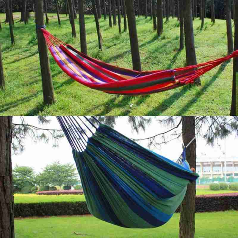 Portable Outdoor Hammock Rainbow Garden Sports Home Travel Camping Swing Canvas Stripe Hang Bed Hammock Kids