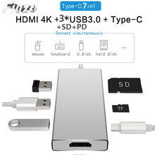 7 in1 USB C phone laptop docking station USB 3.0 HDMI RJ45 SD Type-c USB hub Fealushon for laptop Macbook Pro HP DELL Surface цена и фото