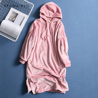 REJINAPYO Women Sweet Pink Double sided Flannel Long Hooded Dress Indoor Clothing Womens Underwear Warm Comfortable Dress