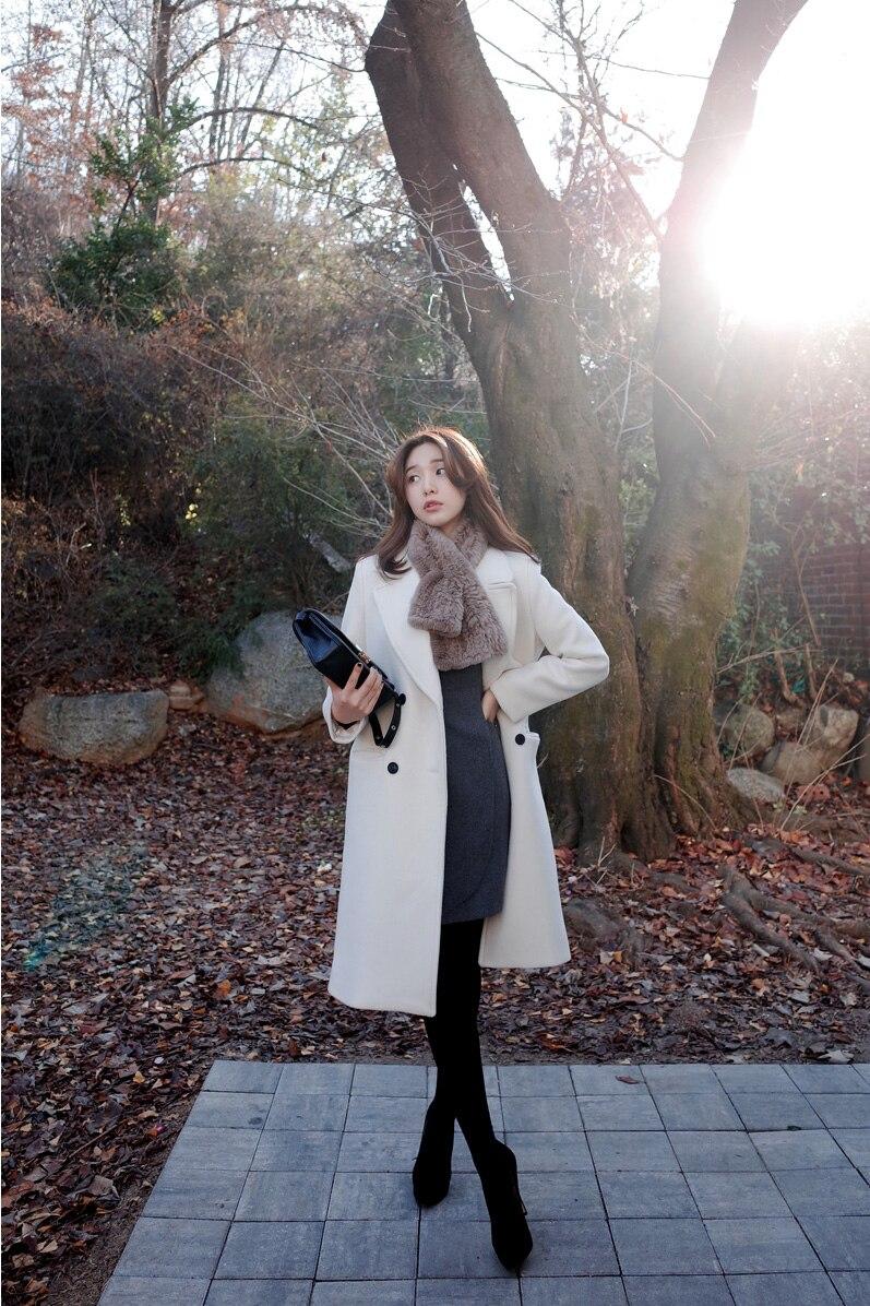 2017 new winter ladies white coat double woolen long coat