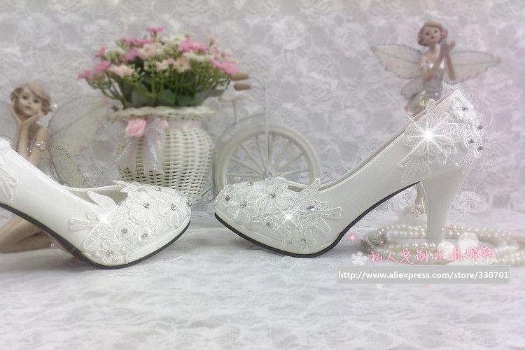 Plus größe 40 41 mode spitze hochzeit schuhe weiß für - Damenschuhe - Foto 2