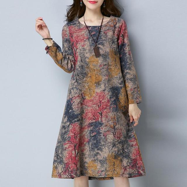 9e35fa0863 KANCOOLD vestido moda mujer manga larga cuello redondo bolsillo vestido  algodón Lino impreso suelto Casual vestido