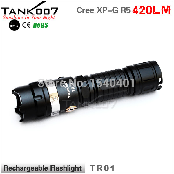 TANK007 TR01 5-modes Cree Rechargeable LED Flashlight 1*18650 AC+Car Charger rechargeable 2000lm tactical cree xm l t6 led flashlight 5 modes 2 18650 battery dc car charger power adapter
