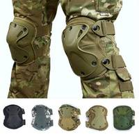 4pcs Adjustable Sports Military Tactical Knee Pads Elbow Support Solid Knee Pads Tape Elbow Tactical Knee