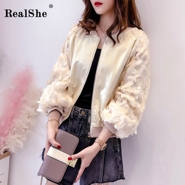 RealShe 2019 Summer Causal Coats And Jackets Women O Neck Long Sleeve Sequined Zipper Outerwear & Coats Women Baseball Jackets