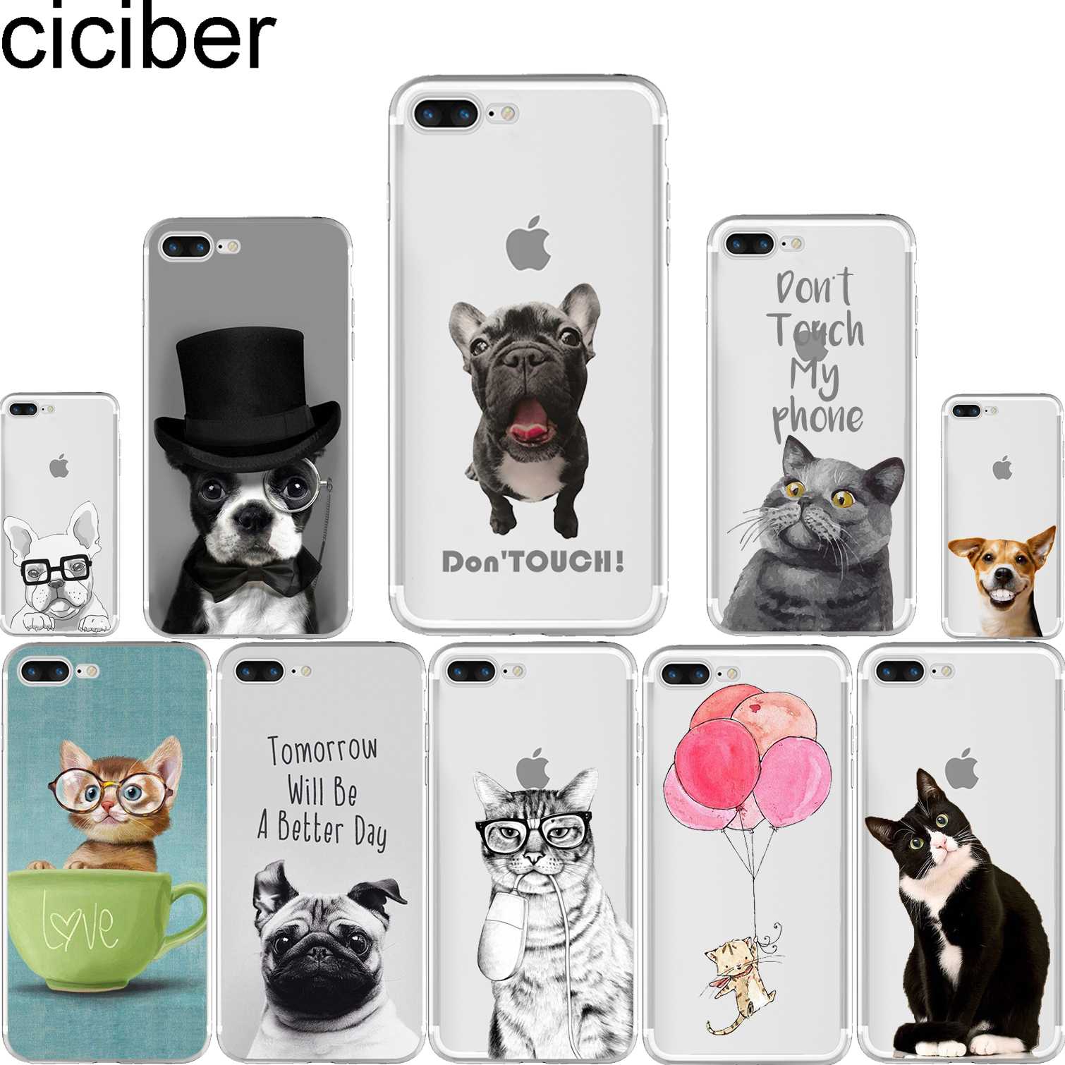 ciciber Cute Animal Dog Cat Shorthair Bulldog Pattern Design Soft Silicone Phone Cases Cover for Iphone 7 6 6S 8 Plus 5S SE X