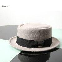 אנגליה לשני המינים למבוגרים גברים נשים חורף כובע צמר אפור שטוח סגנון קוריאני כובע ג 'אז נשי הפילבוקס Bowler פדורה צמר אוסטרלי כובעי