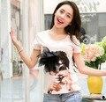 Новый 2015 лето майка женщины топы с коротким рукавом футболки милый хлопок тис о-образным вырезом аппликации футболка плюс размер xxl camisetas mujer