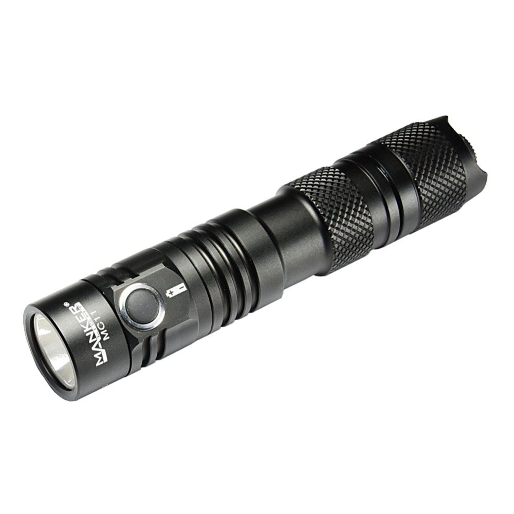 Manker MC11 USB 18650 Tactical Flashlight 1300 lumen CREE XP-L LED Flashlight Pocket EDC Torch + USB 18650 Rechargeable Battery image