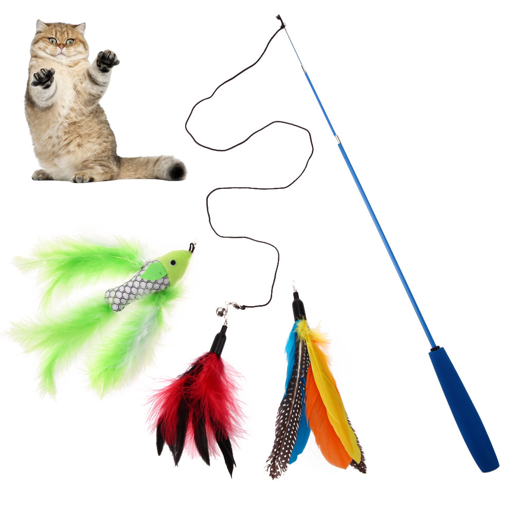 1pc Funny Pet Cat Toys Cat Teaser Funny Cat Stick Replaceable Feather Head Exercise Toy Kitten Playing Toys Pet Seat Scratch Toy