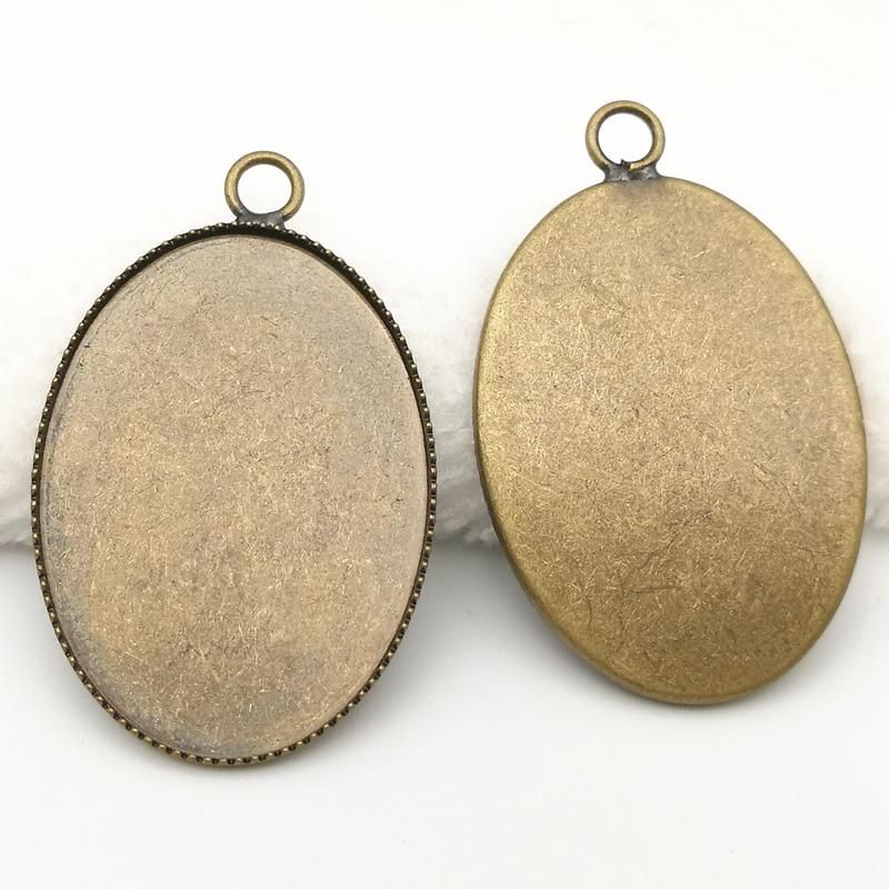 Inner size 13x18/18x25/30x40mm Brass Vintage Pattern Cameo Settings,Bronze Pendant Blank Cabochon Setting stylish brass rudder pattern cufflinks bronze pair