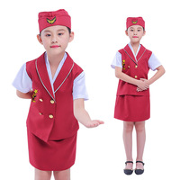 Sexy Airline Stewardess Costumes girl Air Hostess Dress Outfit Sexy Flight Attendant Masquerade Role playing Uniform for kid