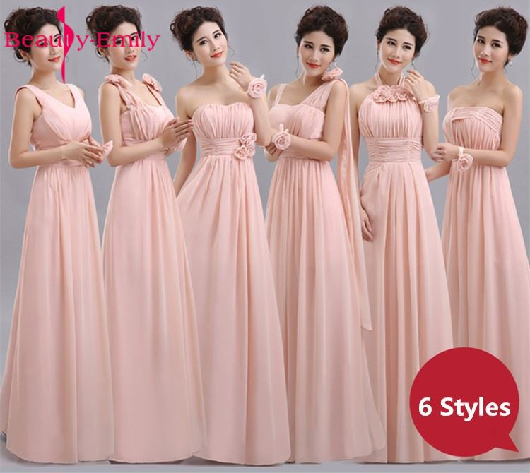 Beauty-Emily Cheap Long Chiffon Blush Pink Bridesmaid Dresses 2017 A-Line Vestido De Festa De Casamen Formal Party Prom Dresses