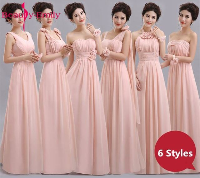 Beauty Emily Long Chiffon Blush Pink Bridesmaid Dresses 2018 A Line Vestido De