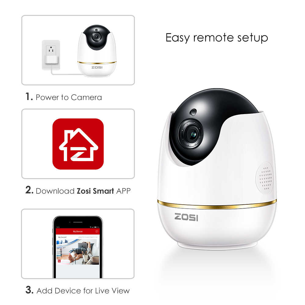 ZOSI IP Dome Camera 2MP 1080p HD Pan/Tilt/Zoom Wireless Wifi Security Surveillance System,Two-Way Audio,Baby/Nanny/Pet Monitor