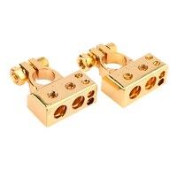 جديد 2 قطع مطلية بالذهب المعادن مقياس السيارات مقياس البطارية إيجابي سلبي محطة بطارية آمنة الذهبي موصل كهربائي تعزيز