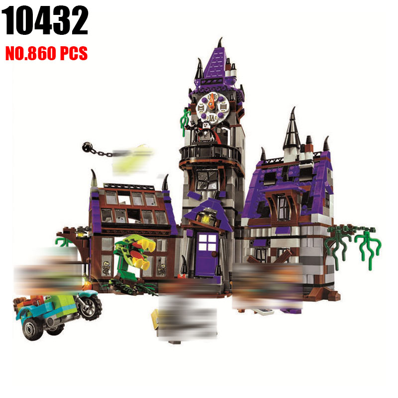 AIBOULLY 10432 Scooby Doo Mysterious Ghost House 860pcs Building Block Toys Compatible 75904 Blocks For Children gift ynynoo 305pcs 10430 the mystery machine scooby doo fred shaggy zombie zeke toys building blocks christmas gift sa562