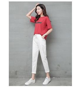 Image 2 - Pantalon en lin pour Femme, sarouel, taille moyenne élastique, mode, noir, Pantalon crayon, de bureau, collection 2019