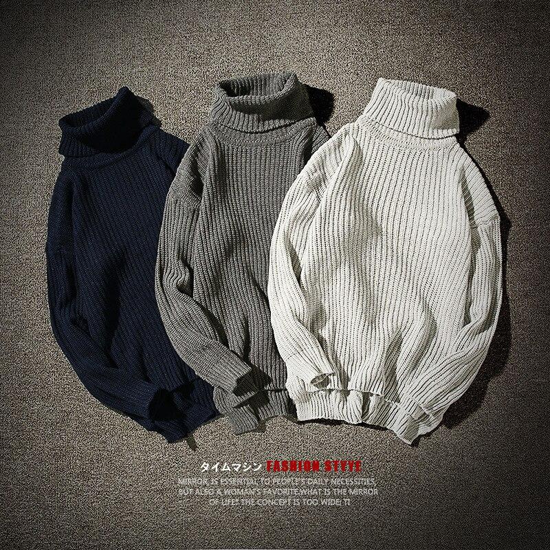 Winter New Style Art Men's Sweaters Loose Turtleneck Sweater Warm Wool Jacket