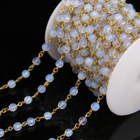 6mm Opal Stone Faceted Round Bead Rosary Chains,White Glass beads with Brass Wire Wrapped Chain Necklace DIY Jewelry Findings