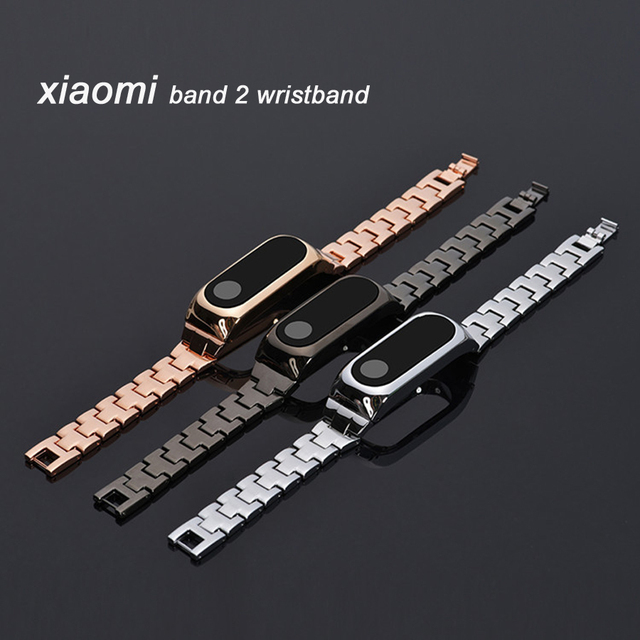 NEW full Metal Replacement Wrist Strap for Xiaomi Mi Band 2 MiBand 2 Wristbands for Mi Band 2 Black Silver Gold
