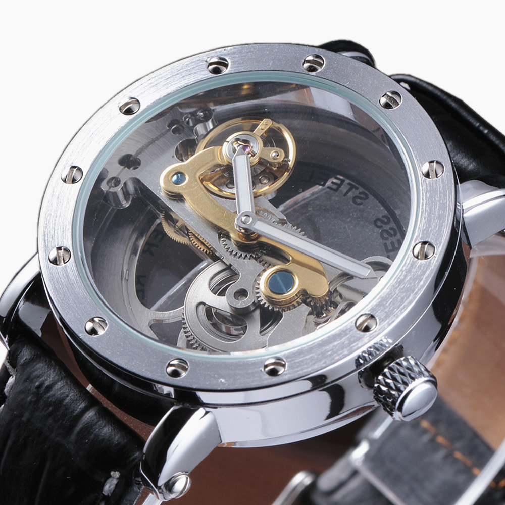 2016 New Fashion Luxury Brand Golden Bridge Skeleton Rhinestone Rotor Automatic Mechanical Leather Strap Men Wrist Watch saimi skdh145 12 145a 1200v brand new original three phase controlled rectifier bridge module
