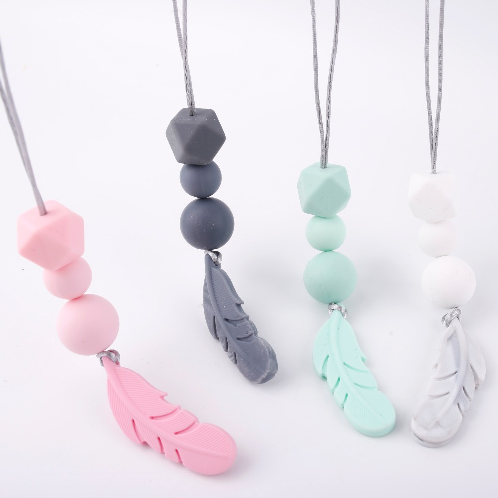 bite-bites-1pc-silicone-feather-necklace-baby-teething-food-grade-silicone-nursing-accessories-diy-baby-product-baby-teether