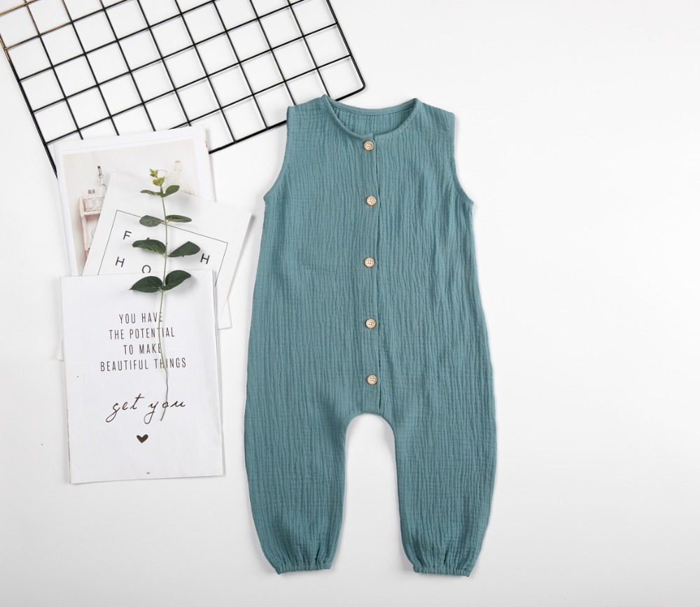 2019 Summer Toddler Baby Girls Boys Fashion Casual   Rompers   Linen Clothings European&America Baby Clothings