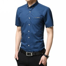 M-5XL 2017 New Summer Men Shirts Male Short Sleeved Solid Solid Color Cotton Slim Fit Men's Business Casual Shirt YN466